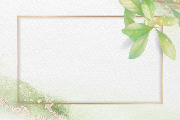 Gouden frame op gebladerte patroon achtergrond vector sjabloon