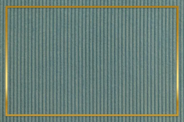 Gouden frame op groene corduroy gestructureerde achtergrond