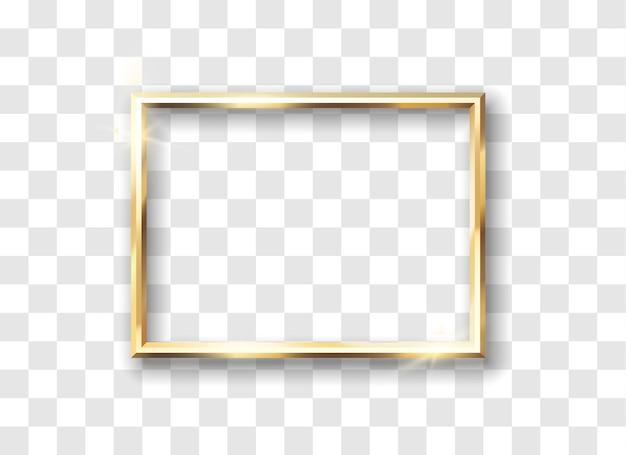 Gouden frame realistisch. glanzende gloeiende vintage rand