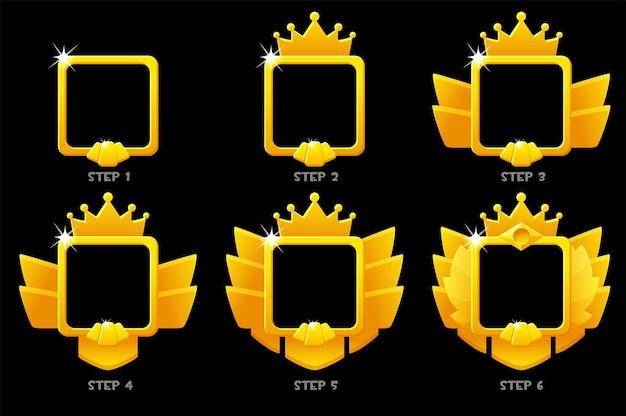 Gouden frame spelrang, vierkante avatar-sjabloon 6 stappen animatie voor ui-spel.