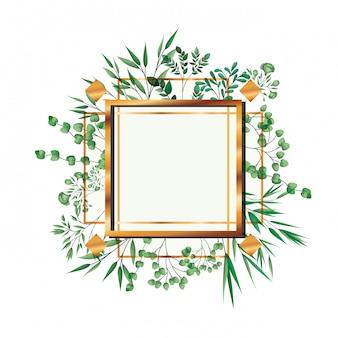 Gouden frame vierkant met gebladerte geïsoleerd
