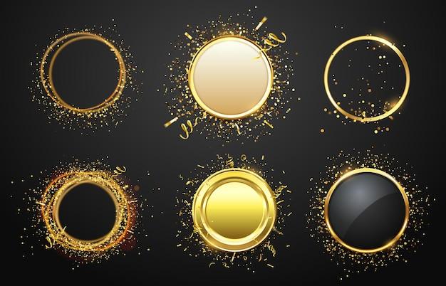 Gouden frames met confetti. glanzende en glanzende randen in luxe stijl. lege ruimte voor tekst. modern cirkelframe met gouden tapes geïsoleerde set voor advertentie vectorillustratie