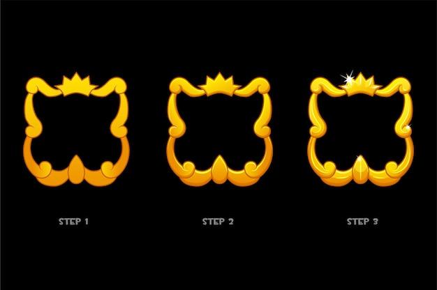 Gouden framesjablonen met kroon, lege avatar 3 stappen voor tekenen voor spel.