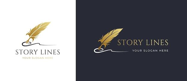 Gouden ganzenveer handtekening lijn logo ontwerp Premium Vector
