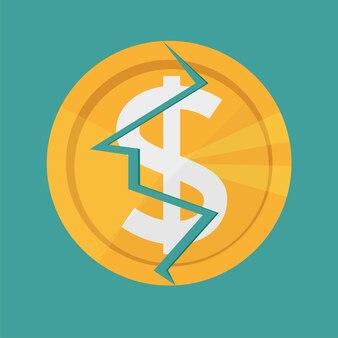 Gouden gebarsten dollarmunt. amerikaans geld valutasymbool - de scheur in de munt, vernietiging, gebroken financiën