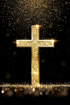Gouden gebed kruis realistische afbeelding. luxe sieraden, elegant accessoire onder gouden glitterregen, edelmetalen juweel. christelijk geloof, symbool van de katholieke religie