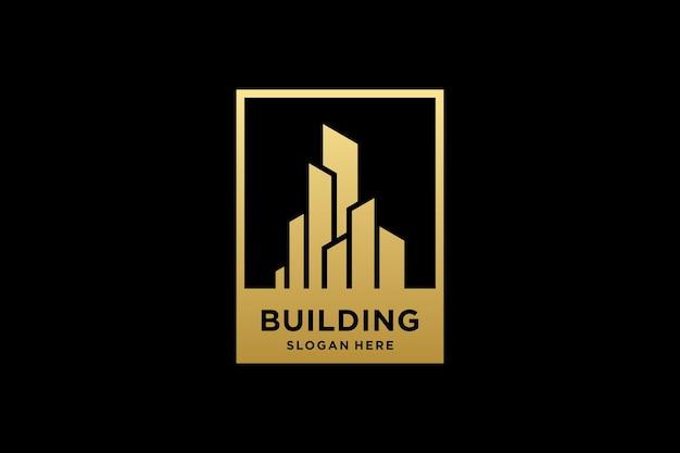 Gouden gebouw architectuur logo ontwerp inspiratie