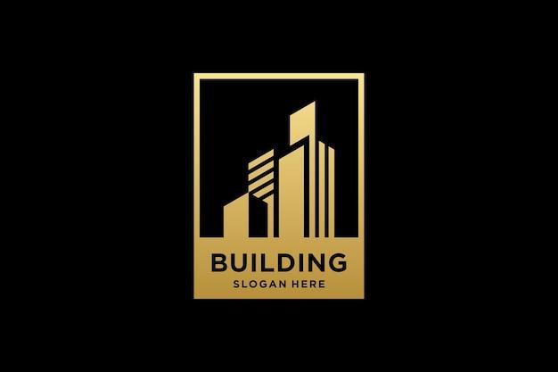 Gouden gebouw architectuur logo ontwerp