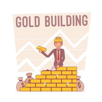 Gouden gebouw, lijn kunst illustratie