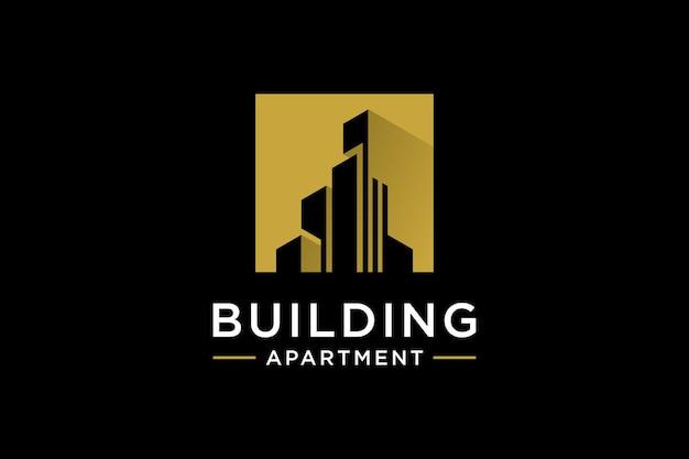 Gouden gebouw logo ontwerp inspiratie