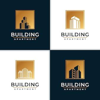 Gouden gebouw logo-ontwerpinspiratie
