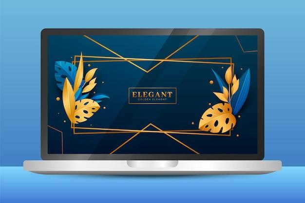 Gouden gedetailleerd behang op laptopscherm