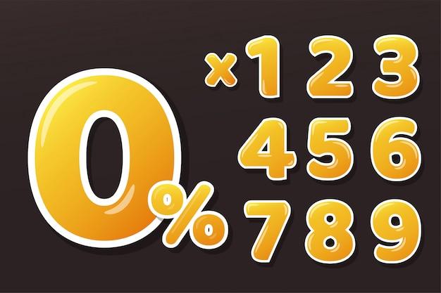 Gouden gele honing cijfers instellen met 0 procentteken en vermenigvuldig getallen. isoleer op achtergrond.