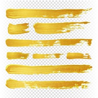 Gouden gele verf vector gestructureerde abstracte borstels. gouden hand getrokken penseelstreken. illustratie van borstel gouden verfwaterverf