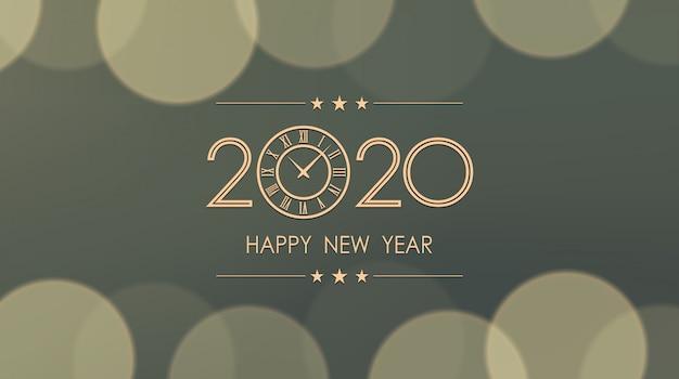 Gouden gelukkig nieuw jaar 2020 en klok met bokeh en lens flare