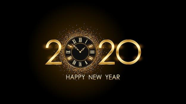 Gouden gelukkig nieuw jaar 2020 en klok met burst-glitter op zwart