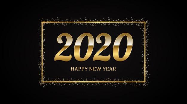Gouden gelukkig nieuw jaar 2020 in vierkant label met burst-glitter op zwarte kleur achtergrond