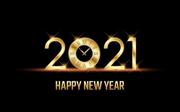 Gouden gelukkig nieuw jaar 2021 met wijzerplaat op zwarte kleurenachtergrond