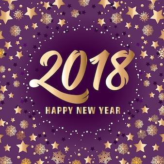 Gouden gelukkig nieuwjaar 2018 belettering