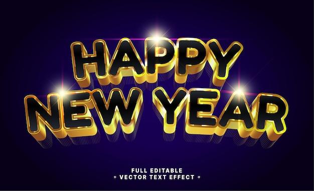 Gouden gelukkig nieuwjaar, bewerkbaar teksteffect