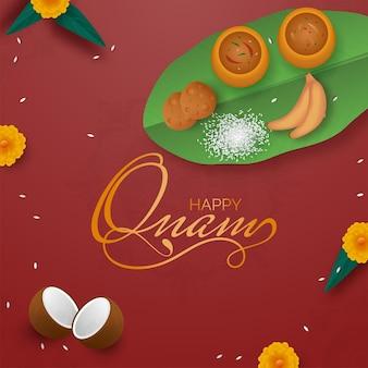 Gouden gelukkig onam-lettertype met bovenaanzicht van sadhya-menu (voedsel) op rode achtergrond.