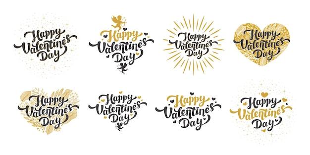Gouden gelukkige valentijnsdag citaten en belettering met hartjes en cupido's in vintage Premium Vector