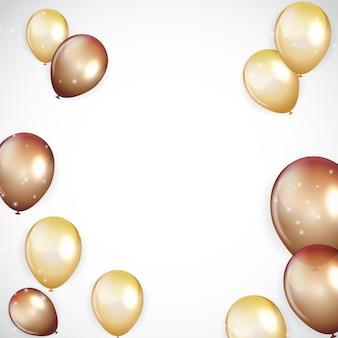 Gouden gelukkige verjaardag ballonnen achtergrond