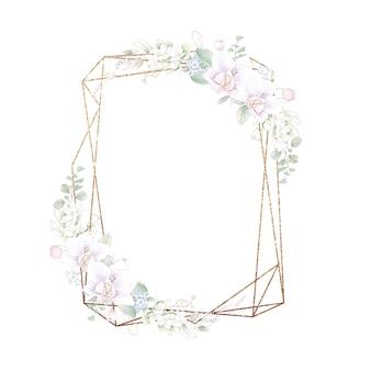 Gouden geometrisch frame met orchideeën. aquarel illustratie.