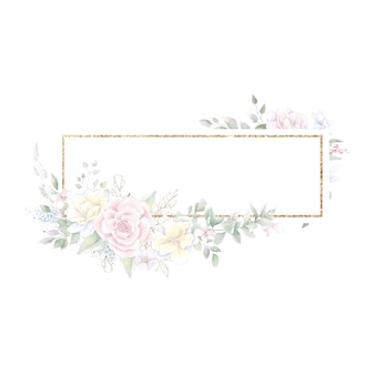 Gouden geometrisch frame met rozen