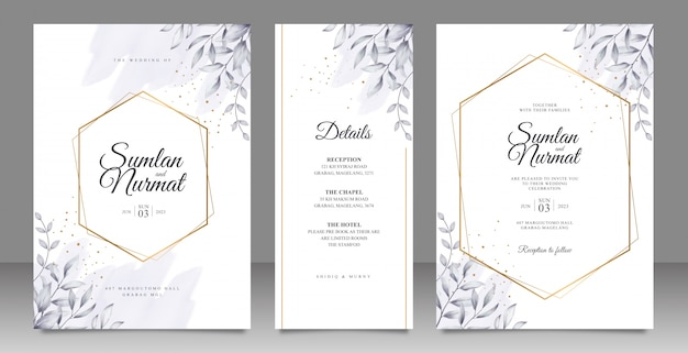 Gouden geometrische frame bruiloft kaart ingesteld sjabloon met bladeren aquarel