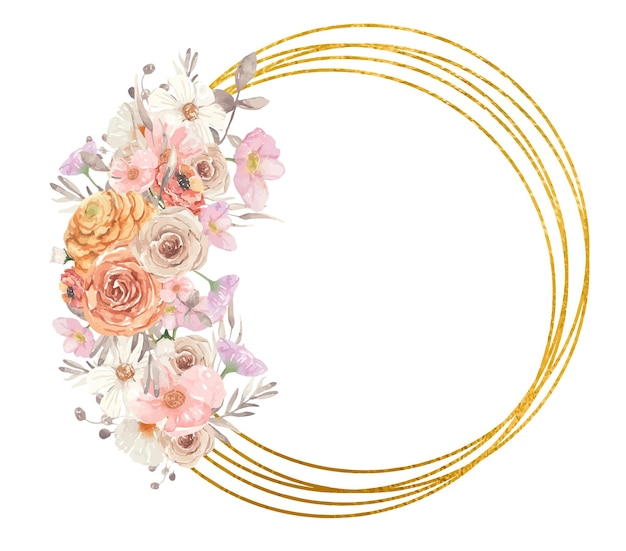 Gouden geometrische frame met herfst aquarel bloemen