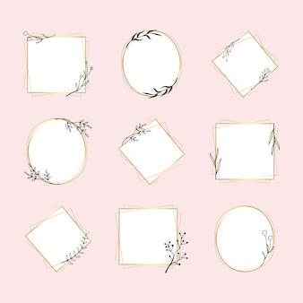 Gouden geometrische frame vector set in minimale bloem doodle stijl