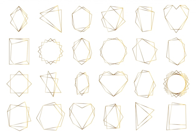 Gouden geometrische frames. elegante gouden zeshoekige elementen, abstracte bruiloft uitnodiging frame. vintage luxe grens symbolen set. geometrische gouden vorm, zeshoek en cirkel vormen illustratie