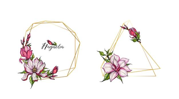 Gouden geometrische gouden frames met magnolia-bloemen