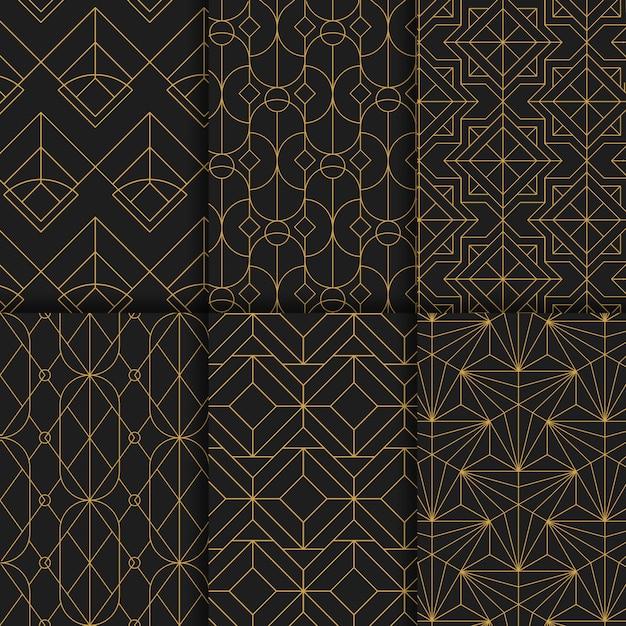 Gouden geometrische naadloze patronen die op zwarte achtergrond worden geplaatst