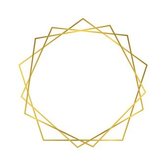 Gouden geometrische veelhoekige frame met glanzende effecten geïsoleerd op een witte achtergrond. lege gloeiende art deco achtergrond. vector illustratie.