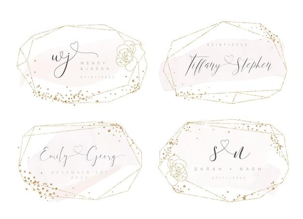Gouden geometrische vorm bruiloft logo ontwerp met aquarel roze penseelstreek