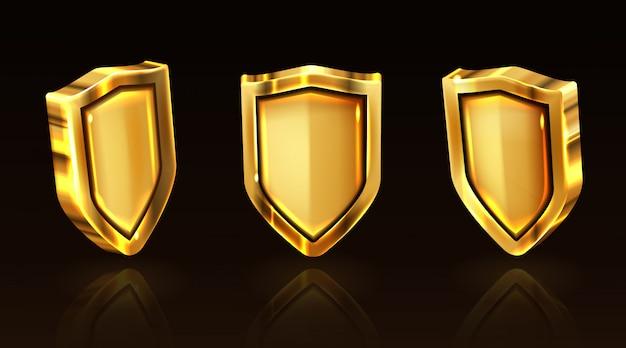 Gouden geplaatste schild vectorpictogrammen, gouden riddermunitie