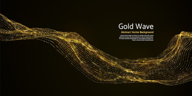 Gouden gestreepte abstracte golf op donkere achtergrond. gouden knipperende golvende lijnen in duisternis vectorillustratie. het golvende gouden effect schittert levendig