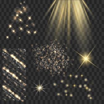 Gouden glans sterren met glitters schittert iconen set effect fonkelen schittering scintillatie-element ondertekenen grafisch licht transparante ontwerp elementen achtergrond gevarieerd template vector illustratie