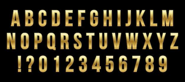 Gouden glanzend lettertype, gouden alfabet, metalen lettertype.