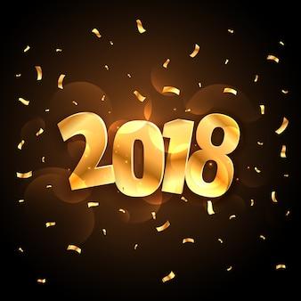 Gouden glanzende 2018 nieuwe jaar feestviering met vallende confetti
