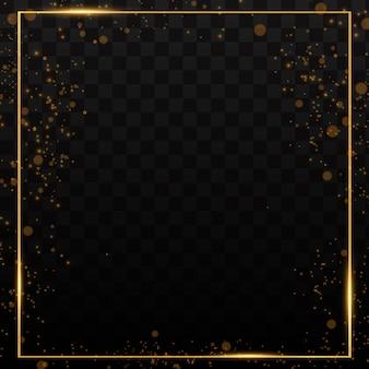 Gouden glanzende frames met schaduwen geïsoleerd