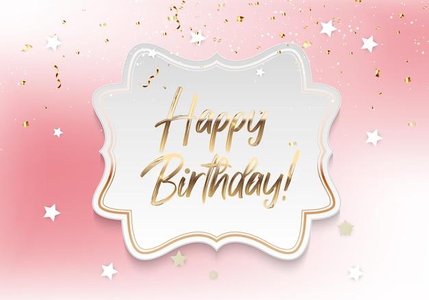 Gouden glanzende happy birthday-tekst met confetti en frame.