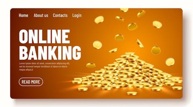 Gouden glanzende munten grote bos oud metaal geld kostbare dure schat online bankieren bestemmingspagina sjabloon of banner