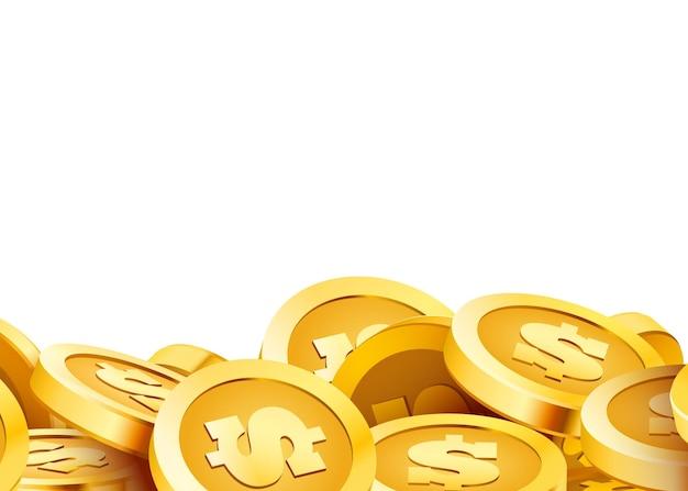 Gouden glanzende munten grote bos van oude metalen geld kostbare dure schat