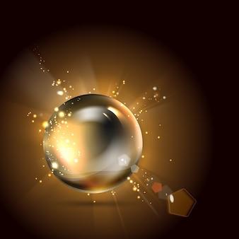 Gouden glanzende perl.