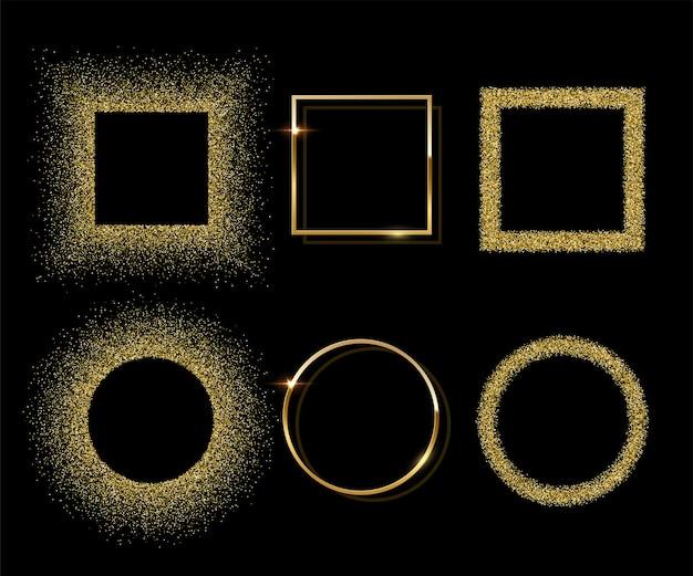 Gouden glanzende ronde en vierkante frames met schaduwen geïsoleerd op zwarte achtergrond