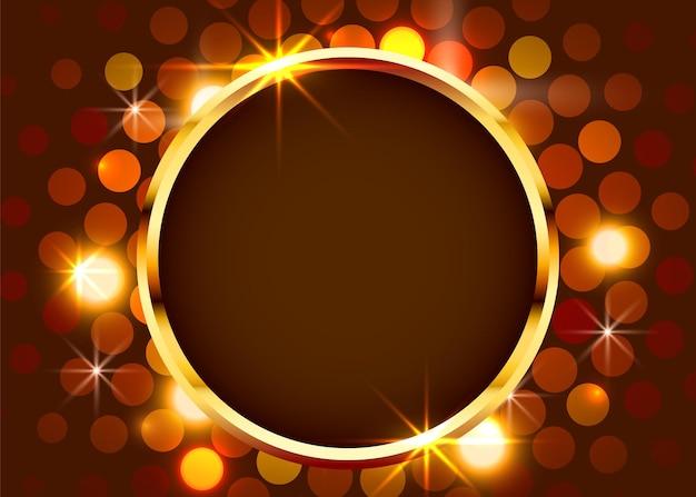 Gouden glanzende vintage cirkel grens op lichte muur. gouden luxe realistisch frame.
