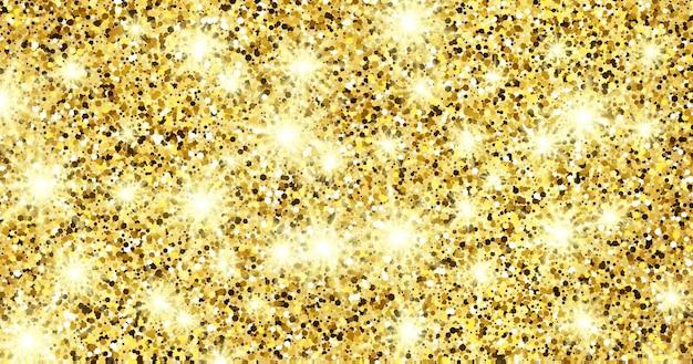 Gouden glinsterende achtergrond met gouden glitters en glittereffect. bannerontwerp. lege ruimte voor uw tekst. vector illustratie